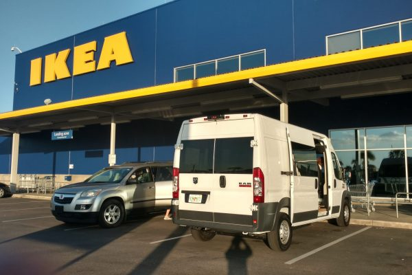 So it begins, Miles Van Camper the empty cargo van at IKEA in Tampa to pick up the kitchen cabinets.